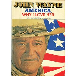 """JOHN WAYNE SIGNED """"AMERICA WHY I LOVE HER"""" BOOK AND HAND WRITTEN POST CARD FROM JAPAN"""