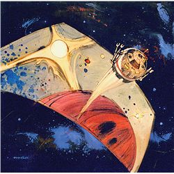 ORIGINAL BOB MCCALL PRELIMINARY CONCEPT PAINTING FOR 2001: A SPACE ODYSSEY.