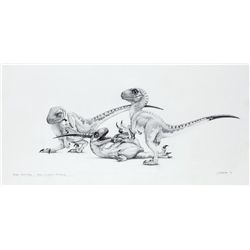 ORIGINAL CONCEPT ARTWORK OF BABY RAPTORS FROM JURASSIC PARK
