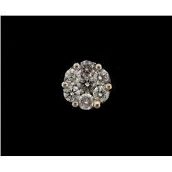 EARRINGS:14KWG earring set with 7 round diamonds