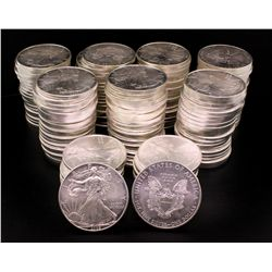 COINS: (160) 2008/2009 Silver Eagles, BU in Tubes