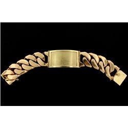 JEWELRY: 14k yellow gold I.D. style bracelet