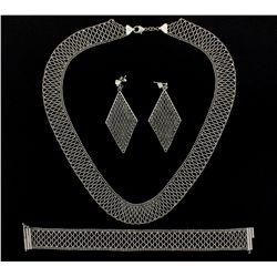 NECKLACE, BRACELET, EARRING SET: Platinum 950 open mesh design matching set