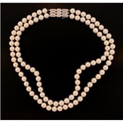 NECKLACE: Double strand cultured pearl necklace