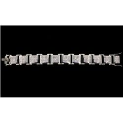 JEWELRY:Gents diamond and 14k white gold link bracelet