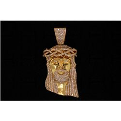 PENDANT: Men's 10ky head of Jesus diamond pendant