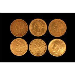 COIN: (6) US Ten Dollar Gold Coins