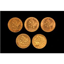 COIN:(5) US Five Dollar Gold Coins