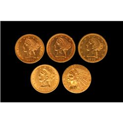 COIN: (5) US Five Dollar Gold Coins