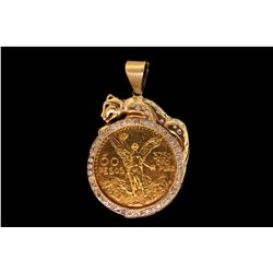 PENDANT: Men's 10ky cougar motif diamond pendant w/ 50 Pesos Mexico gold coin