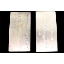 PRECIOUS METALS: (2) Engelhard 999  fine silver 100 troy oz. bars