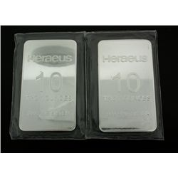 BULLION BARS: (2) 10 Troy ounce Heraeus fine silver bars; 999  AG