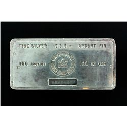 BULLION BAR: One (1) 100 Troy ounce Royal Canadian Mint fine silver bar; 999.9 AG