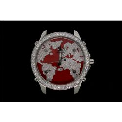 "WATCH: Large  Jacob and Co Five Time Zone ""The World is Yours"" collection diamond wristwatch"