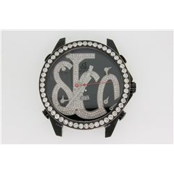 WATCH: Large black PVD  Jacob and Co Five Time Zone black diamond wristwatch