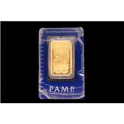 BULLION: (1) Pamp Suisse 1 troy ounce 999.9 fine gold bar