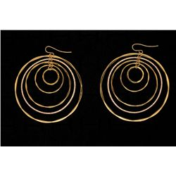 EARRINGS: Pair lady's 18ky concentric loop pave diamond dangle earrings
