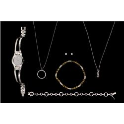 JEWELRY: Lot earrings, watch, bracelets, chains