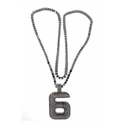 NECKLACE: Stainless steel with black rhodium plating chain necklace and pendant
