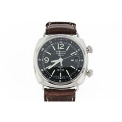WATCH: Stainless steel gents Officine Panerai Radiomir Alarm GMT self winding watch