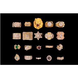 RINGS: lady's assorted 14ky, 14kw, and 14ky and diamond rings