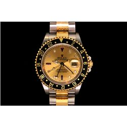 ROLEX: Men's 18ky Rolex O.P. GMT Master II Date wristwatch