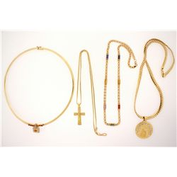 NECKLACES: Large lot gold and pearl necklaces