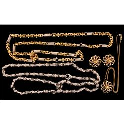 CHAIN: (4) Men's 14kw fancy link chain necklaces and lady's pendant and earring set