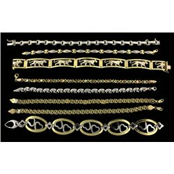 BRACELETS: Lot lady's assorted gold bracelets and anklets