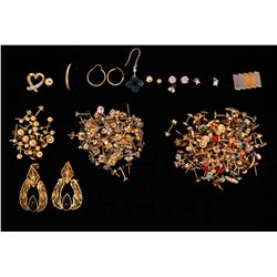 EARRINGS: Large lot assorted gold earrings and pendants