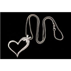 PENDANT: Lady's 14kw diamond heart pendant and Lady's 14kw anaconda link chain necklace