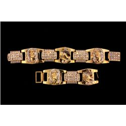 BRACELET: 10KYG and rhodium accented 8 1/2 inch link bracelet