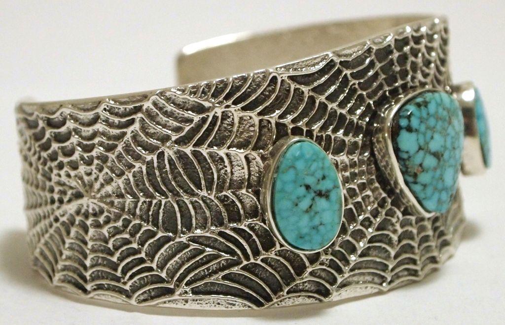 2665ceacf ... Image 2 : Navajo Kingman Turquoise Sterling Silver Spider Web Tufacast  Cuff Bracelet - Philander B ...