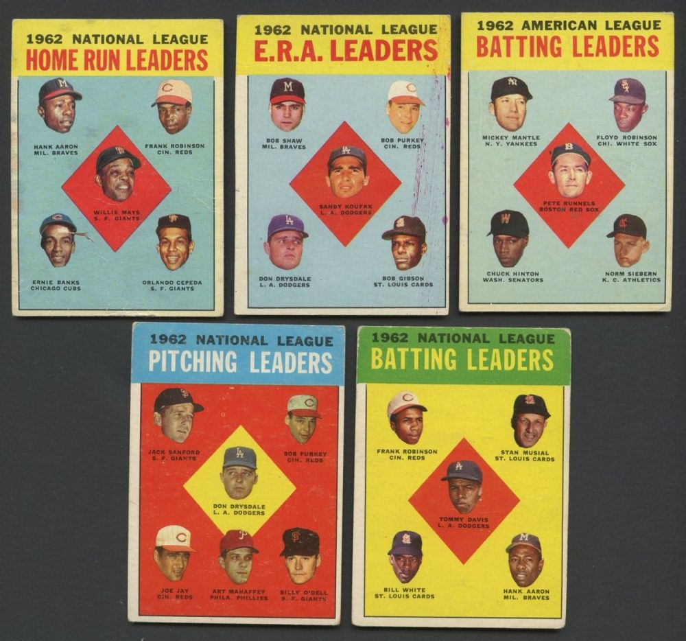 Lot Of 5 1963 Topps Baseball Cards With Mickey Mantle Hank Aaron