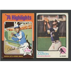 2 Vintage Hank Aaron Baseball Cards With 1973 Topps