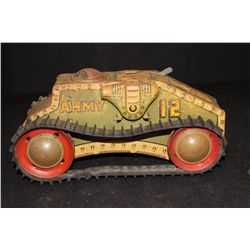 """ARMY TRACK TANK - WIND UP - WORKS GOOD - 10"""""""