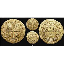 Lima, Peru, cob 8 escudos, 1702H, very rare, from the 1715 Fleet.