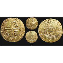 Lima, Peru, cob 8 escudos, 1704H, very rare, from the 1715 Fleet.