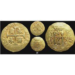 Lima, Peru, cob 8 escudos, 1707H, rare, from the 1715 Fleet.