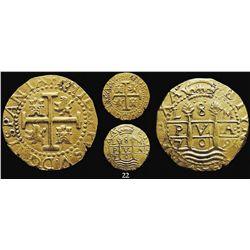 Lima, Peru, cob 8 escudos, 1709M, rare, from the 1715 Fleet.