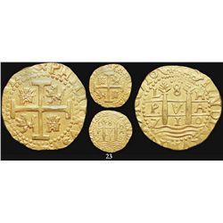 Lima, Peru, cob 8 escudos, 1710H, from the 1715 Fleet, encapsulated NGC AU 58.