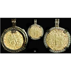 Lima, Peru, cob 8 escudos, 1711M, from the 1715 Fleet, mounted in a high-end gold-and-diamond bezel