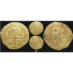 Lima, Peru, cob 8 escudos, 1712M, from the 1715 Fleet, encapsulated NGC MS 61.