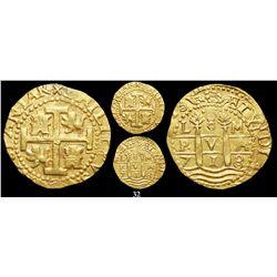 Lima, Peru, cob 8 escudos, 1713/2M, from the 1715 Fleet, encapsulated NGC AU 58.