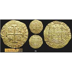 Lima, Peru, cob 8 escudos, 1714/3M, very rare, from the 1715 Fleet.