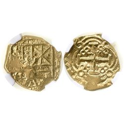 Bogota, Colombia, cob 2 escudos, Charles II, 169(?), from the 1715 Fleet, encapsulated NGC AU 58.