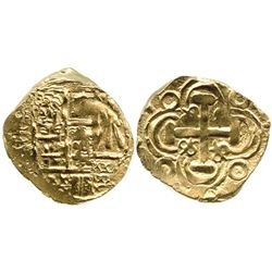 Bogota, Colombia, cob 2 escudos, posthumous Charles II, from the 1715 Fleet.