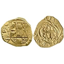 Bogota, Colombia, cob 2 escudos, Philip V, assayer not visible (1720s to early 1730s), mintmark F to
