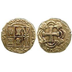 Bogota, Colombia, cob 2 escudos, Ferdinand VI, assayer S to left, mintmark FS to right.