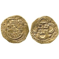 Seville, Spain, cob 2 escudos, 15(9?)B, date to right and assayer below mintmark S and denomination